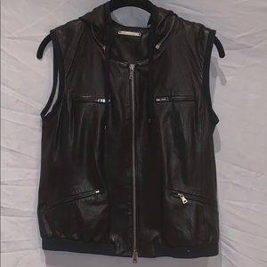 Diane Von Furstenberg black leather zip up vest.
